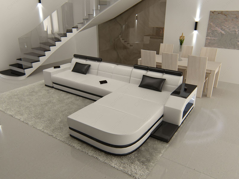 ledersofa venedig l form designersofa mit beleuchtung gro e farbwahl ebay. Black Bedroom Furniture Sets. Home Design Ideas