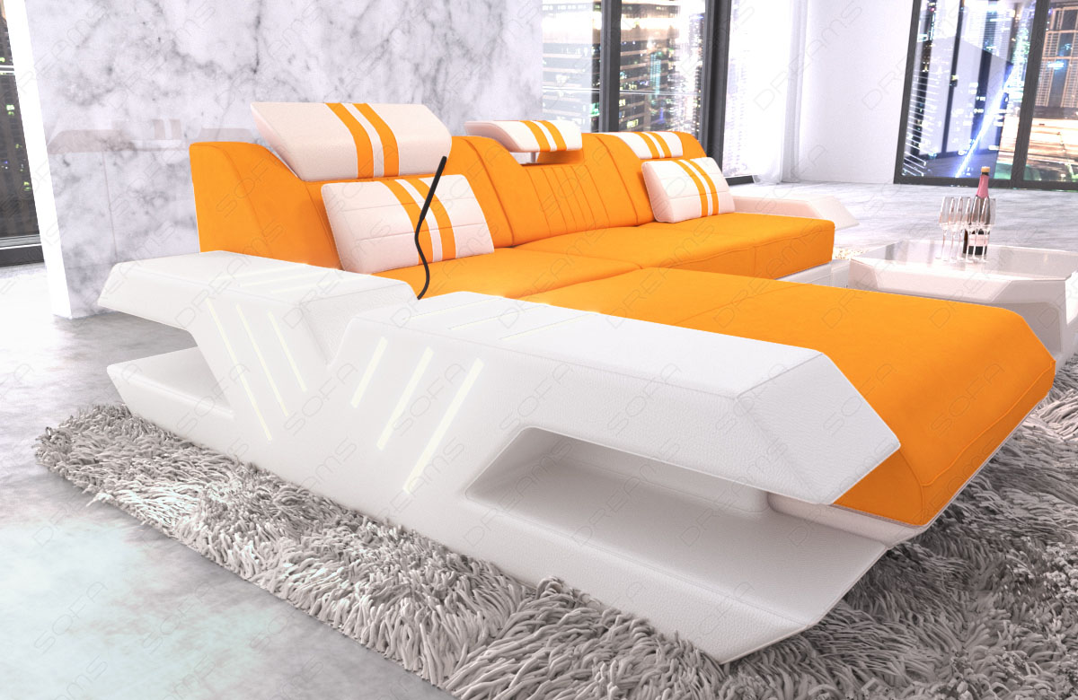 polstersofa eckcouch designer stoff sofa couch venedig l form ottomane led usb ebay. Black Bedroom Furniture Sets. Home Design Ideas
