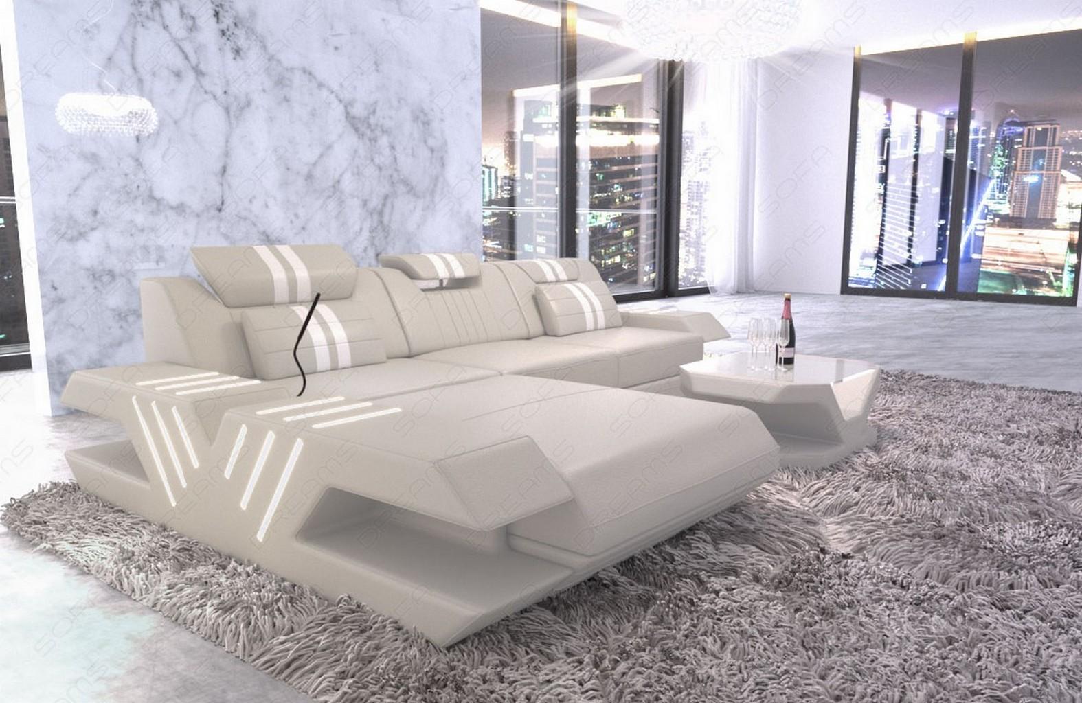 sofa leder couch design wohnlandschaft venedig l form ottomane led beleuchtung ebay. Black Bedroom Furniture Sets. Home Design Ideas