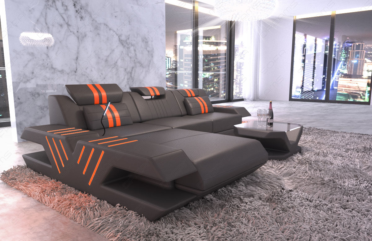 sofa venedig l form design couch luxus eckcouch recamiere led usb grau orange ebay. Black Bedroom Furniture Sets. Home Design Ideas