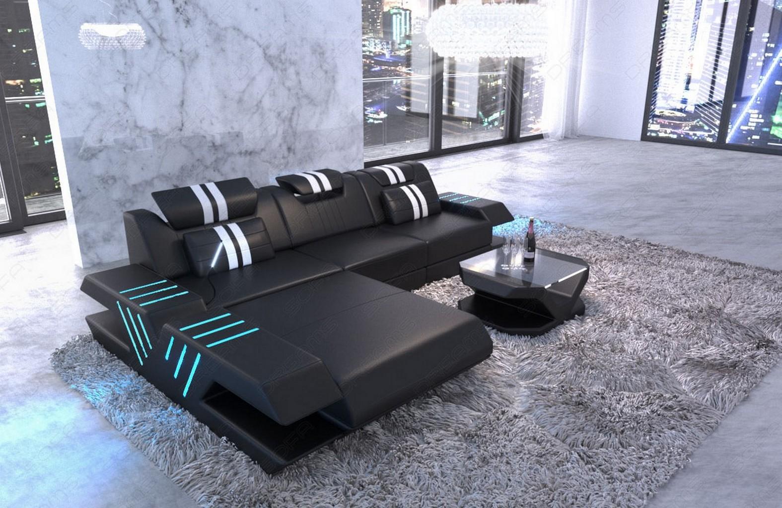 echtleder couch venedig l form ecksofa ottomane sofa led usb schwarz weiss ebay