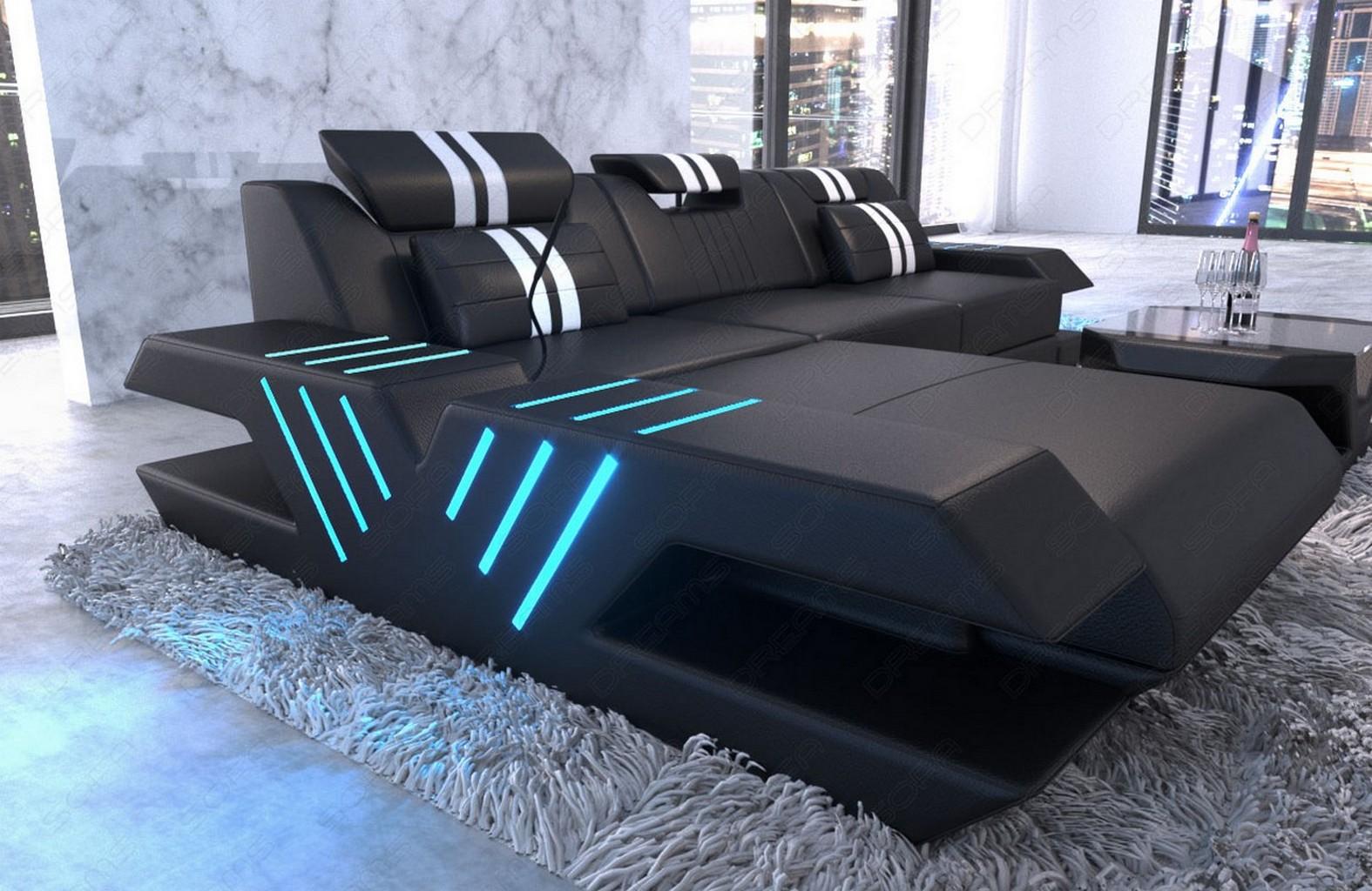 echtleder couch venedig l form ecksofa ottomane sofa led. Black Bedroom Furniture Sets. Home Design Ideas