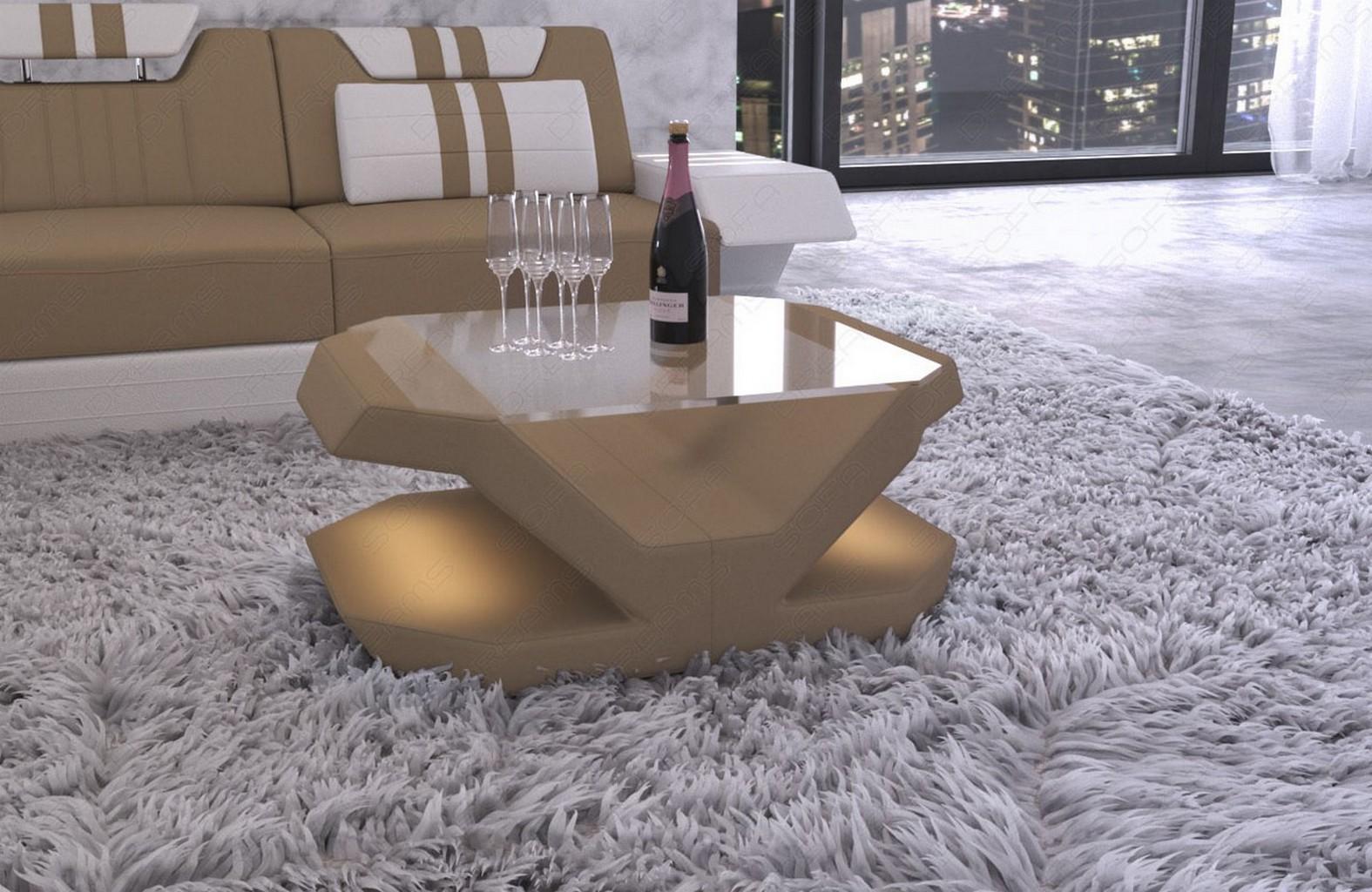 Wohnzimmertisch Designer Tisch VENEDIG Stoff / Leder Beistelltisch ...