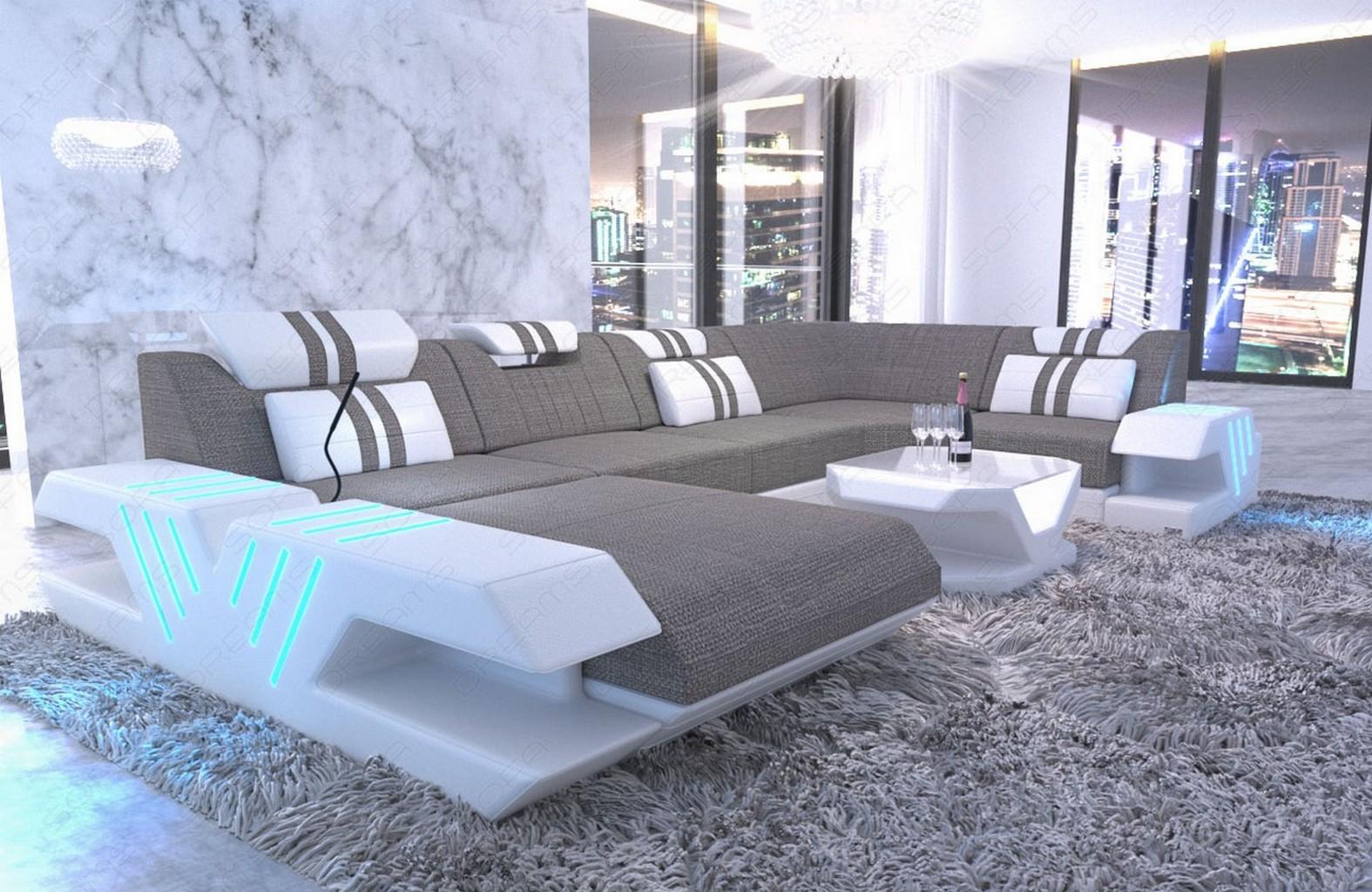 Stoff Sofa Wohnlandschaft Design Polstercouch Venedig U Form