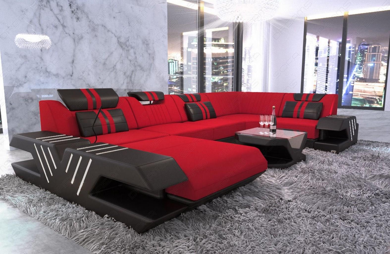 Stoff Sofa Wohnlandschaft Design Polstercouch VENEDIG U Form ...