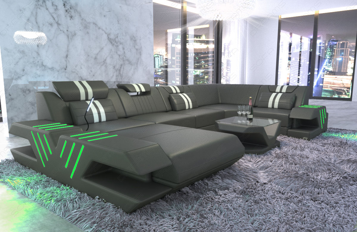 wohnlandschaft venedig u form ecksofa ottomane leder couch led usb grau weiss ebay. Black Bedroom Furniture Sets. Home Design Ideas