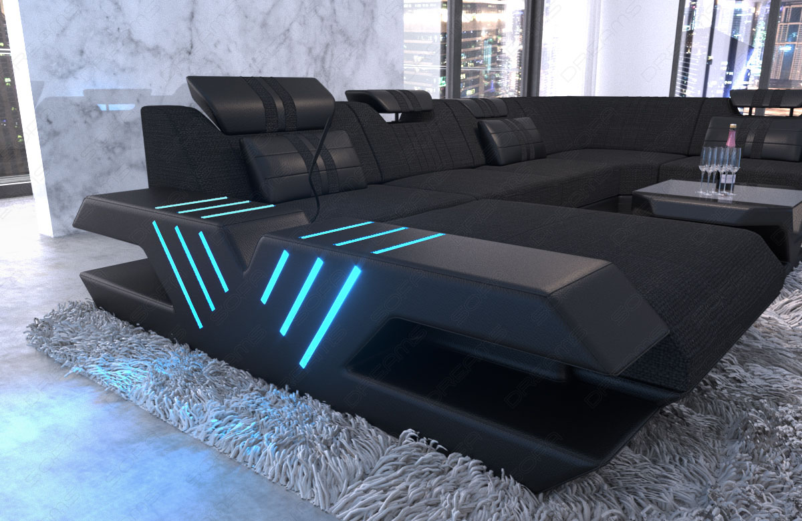 design stoff wohnlandschaft polstersofa venedig xxl. Black Bedroom Furniture Sets. Home Design Ideas
