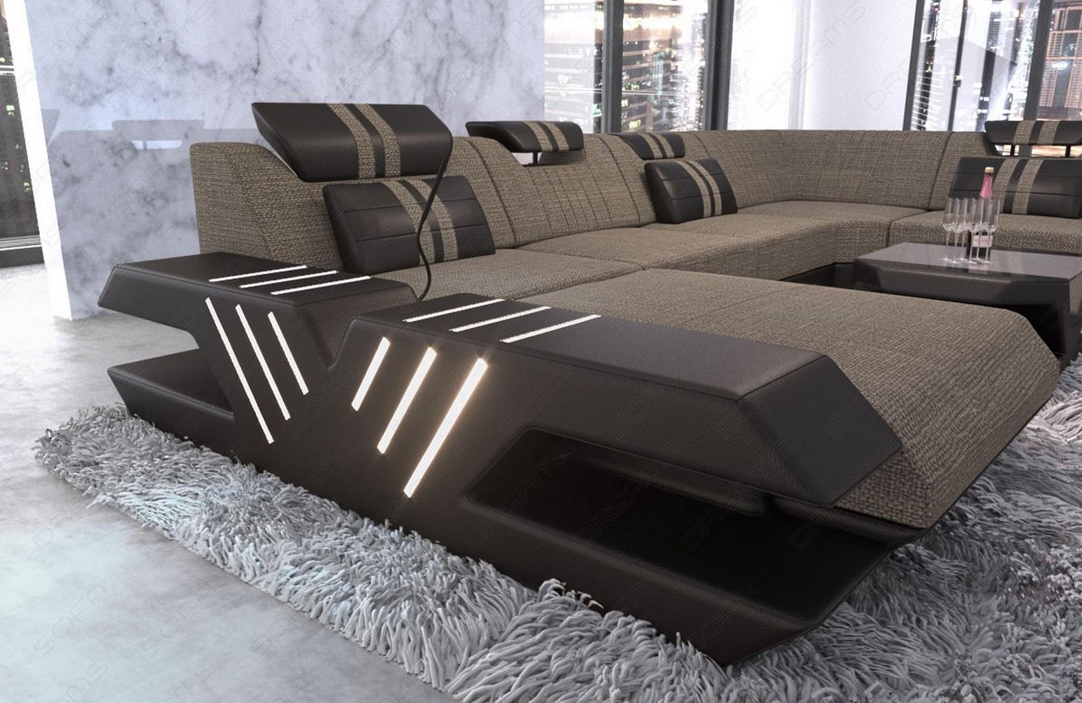 stoff wohnlandschaft polstersofa luxus mega couch venedig xxl ottomane led usb ebay. Black Bedroom Furniture Sets. Home Design Ideas