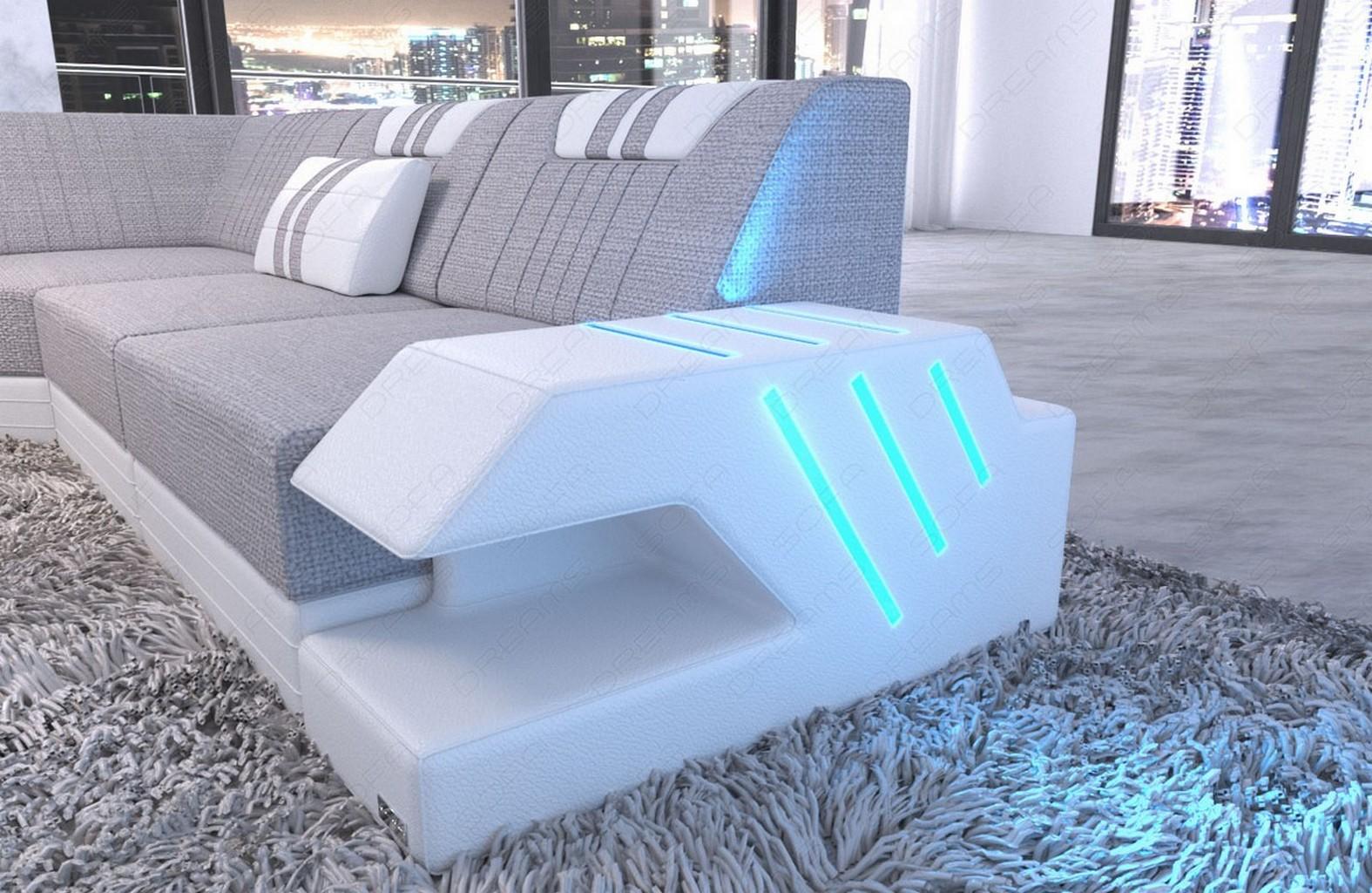 polster wohnlandschaft sofa couch venedig xxl recamiere led usb macchiato ebay. Black Bedroom Furniture Sets. Home Design Ideas