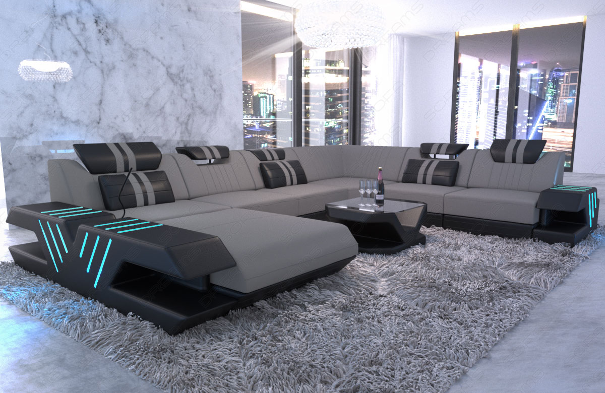 wohnlandschaft design polstersofa couch venedig xxl recamiere led usb hellgrau ebay. Black Bedroom Furniture Sets. Home Design Ideas