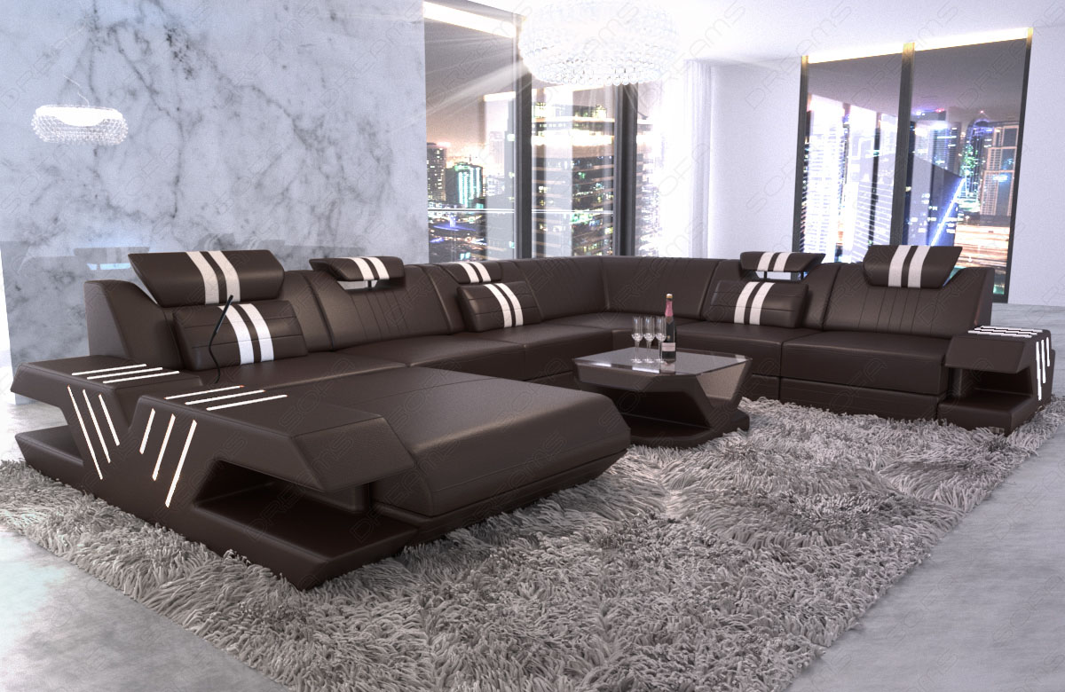 leder xxl wohnlandschaft sofa designcouch venedig ottomane. Black Bedroom Furniture Sets. Home Design Ideas