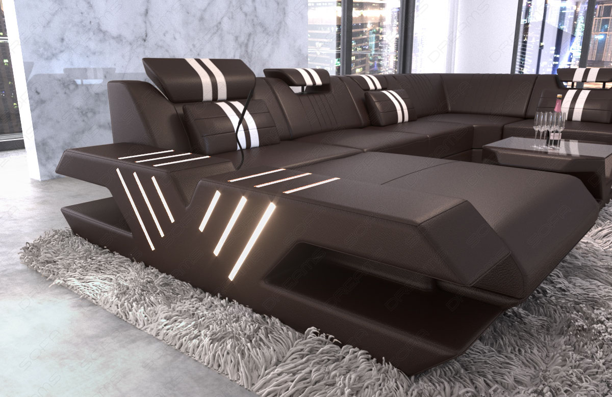 leder xxl wohnlandschaft sofa designcouch venedig ottomane led usb braun weiss ebay. Black Bedroom Furniture Sets. Home Design Ideas