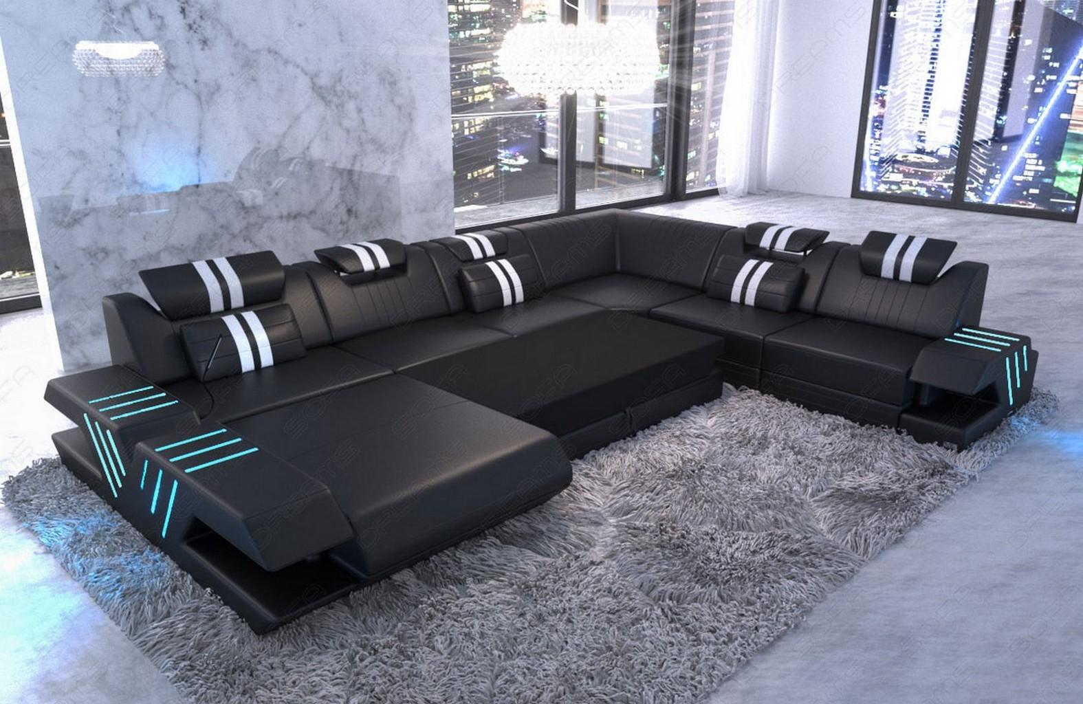 xxl wohnlandschaft luxus couch design echtleder sofa venedig recamiere led usb ebay. Black Bedroom Furniture Sets. Home Design Ideas