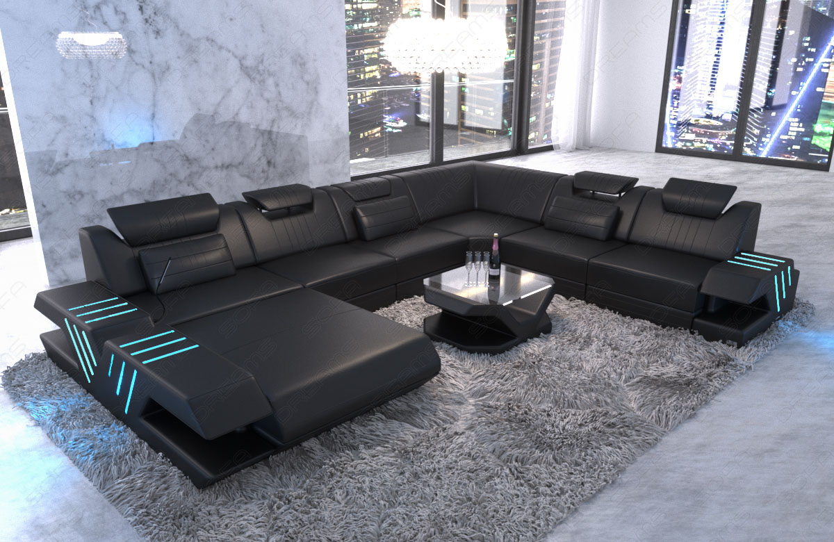 xxl wohnlandschaft luxus couch design echtleder sofa venedig recamiere led usb ebay. Black Bedroom Furniture Sets. Home Design Ideas