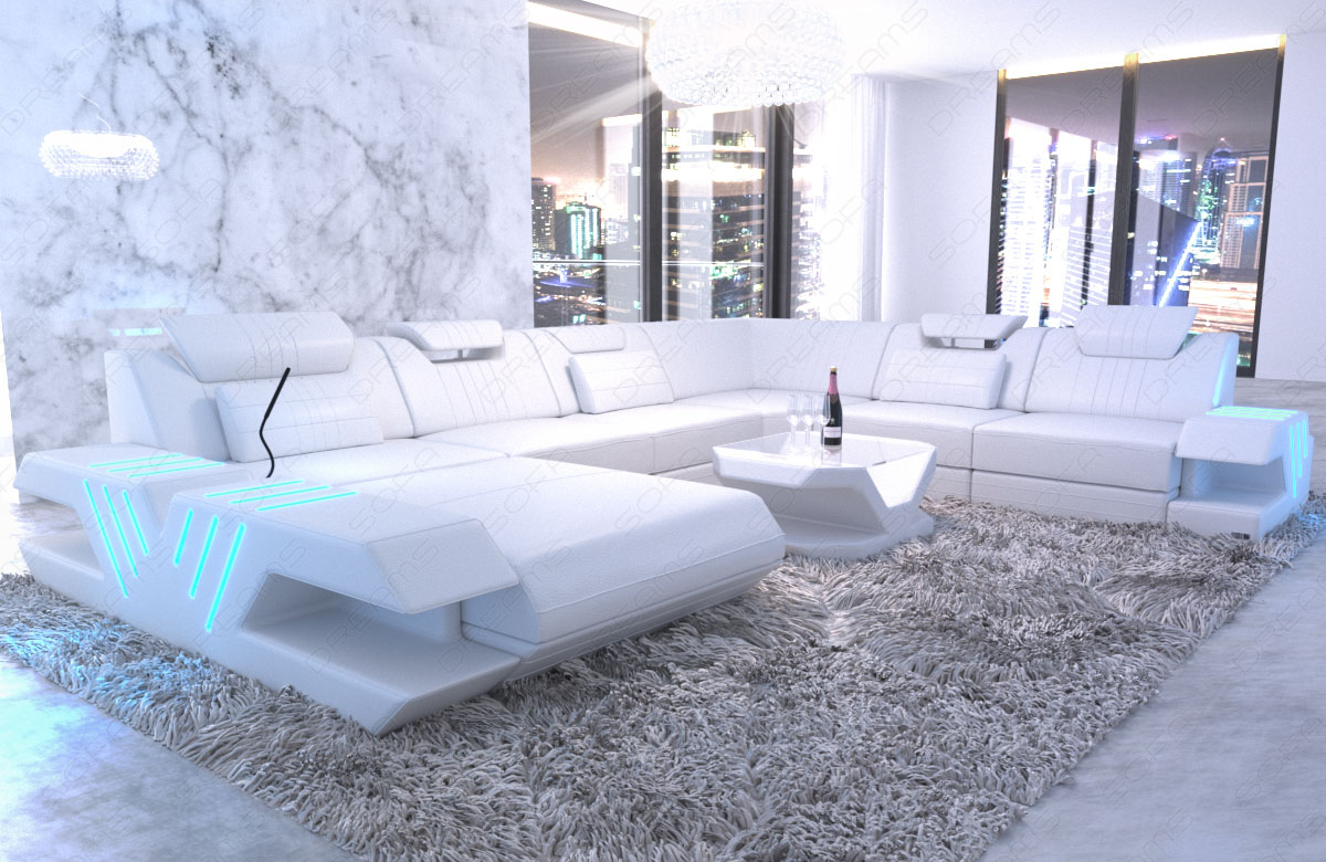 wohnlandschaft xxl luxus sofa echtleder couch venedig ottomane led usb weiss ebay. Black Bedroom Furniture Sets. Home Design Ideas