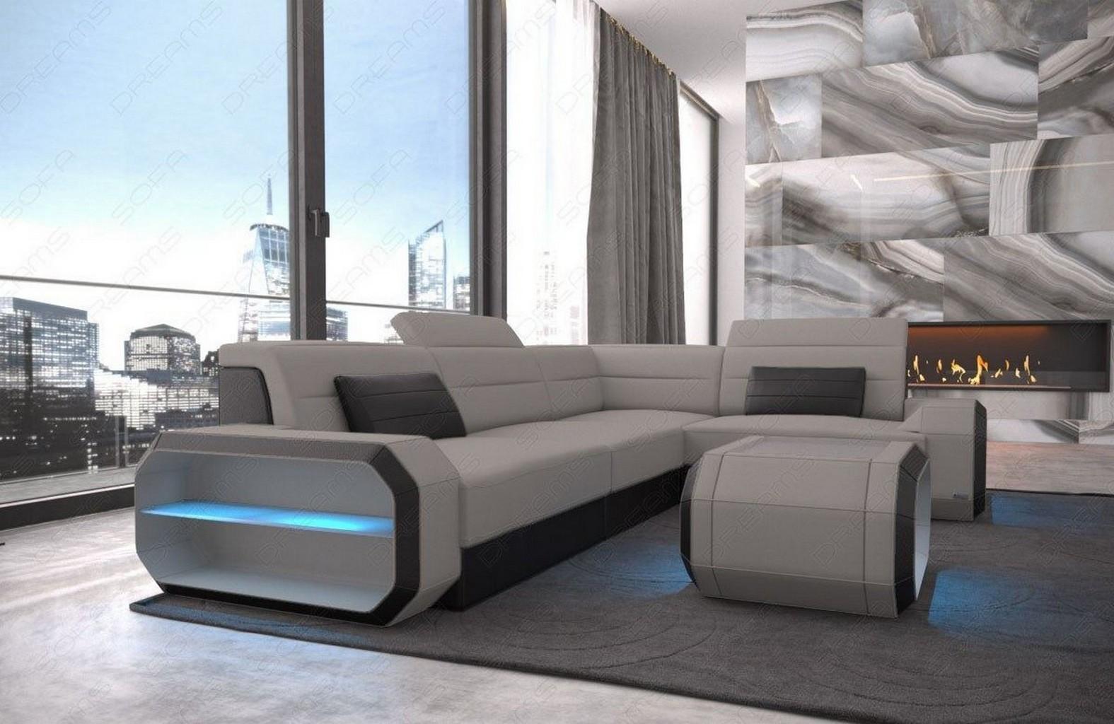 designer stoff couch verona l form modernes sofa recamiere led beleuchtung grau ebay. Black Bedroom Furniture Sets. Home Design Ideas