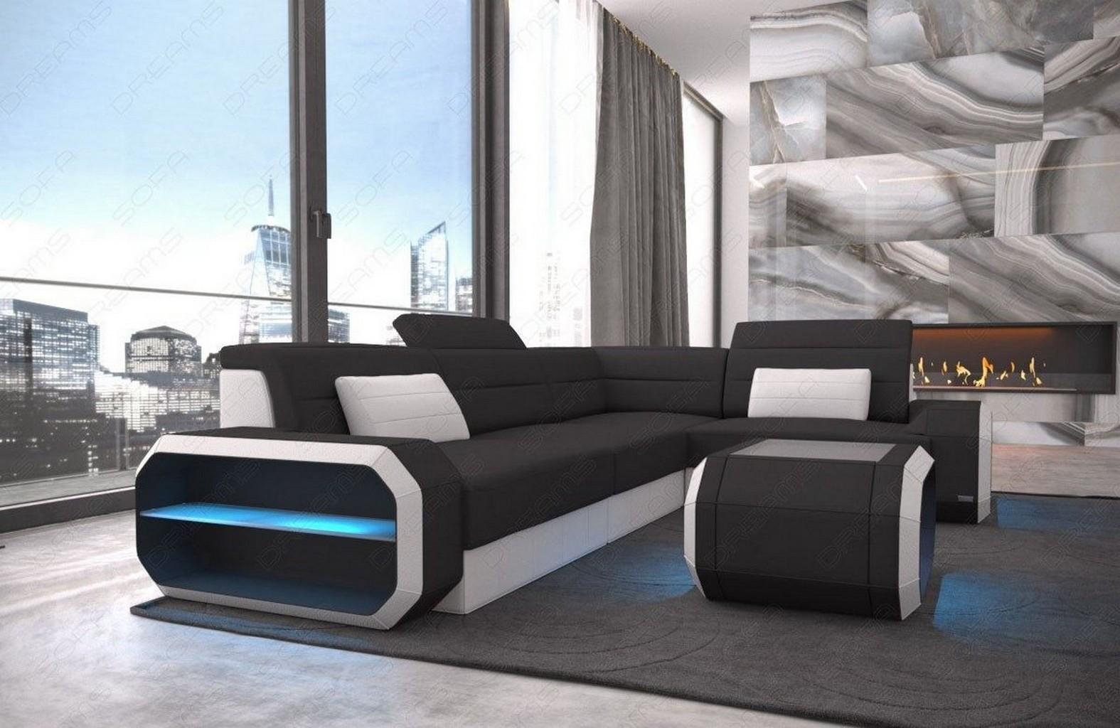 Luxus design ecksofa stoff couch verona l form ottomane for Design couchtisch fabric