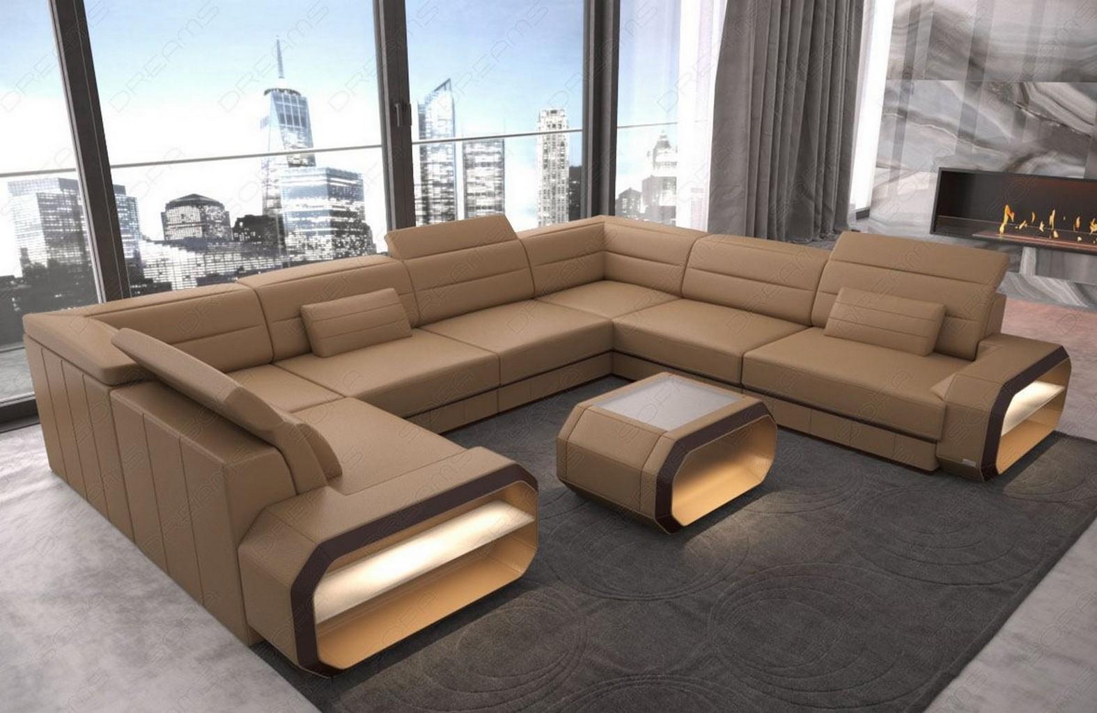 Wohnlandschaft Sofa U Form Couch Schlaffunktion Ecksofa