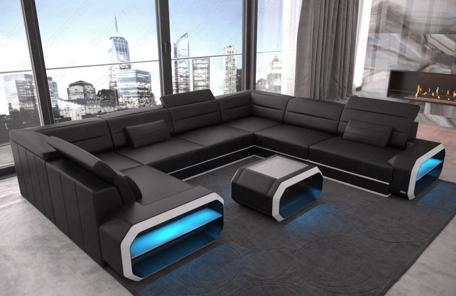 Living Room Sofa U Shape Couch SLEEPING FUNCTION Corner ...