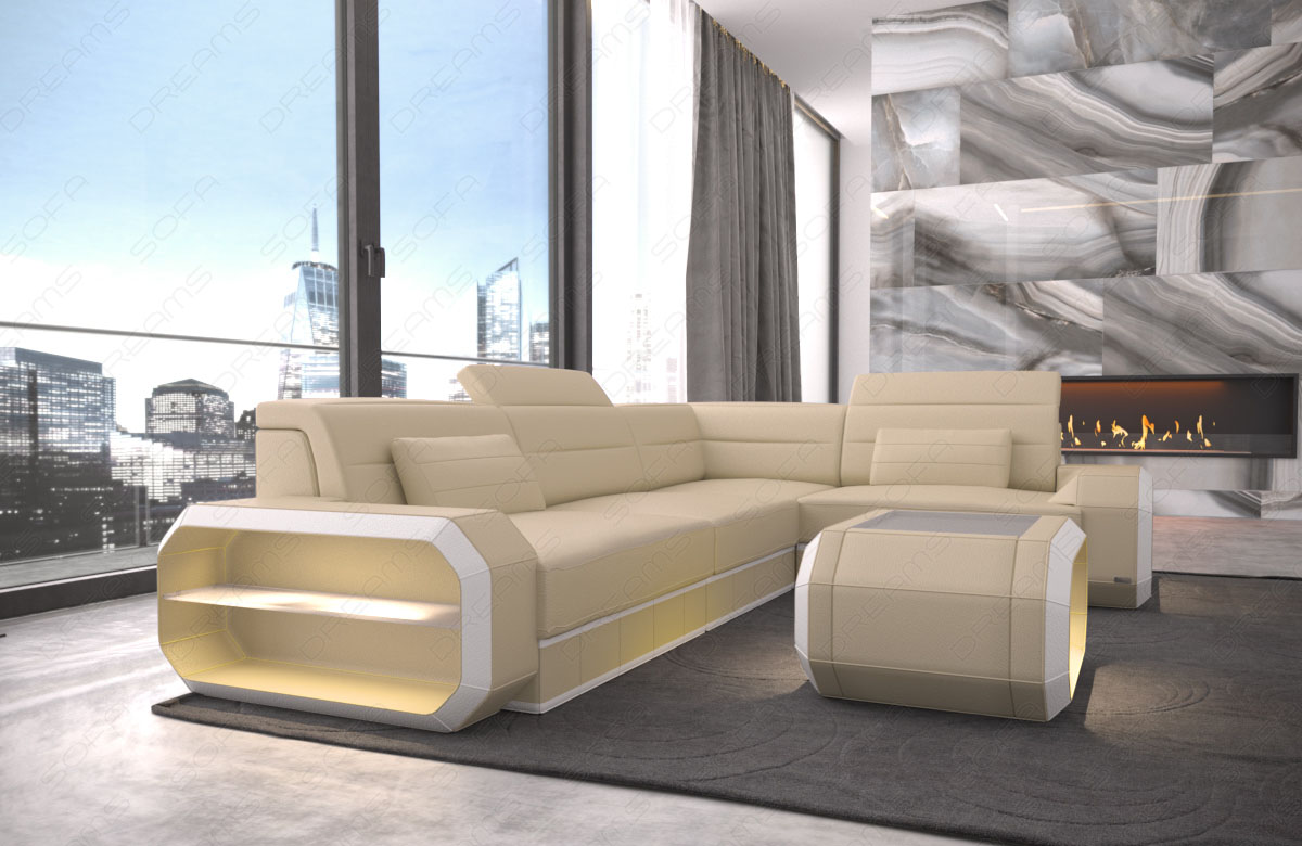 echt ledercouch designersofa verona l form eck couch mit led beleuchtung. Black Bedroom Furniture Sets. Home Design Ideas