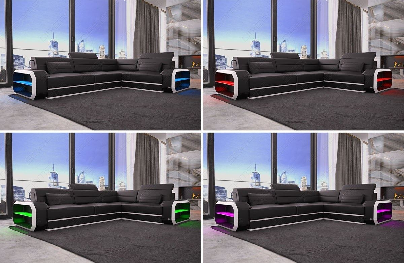 echtledercouch designersofa verona l form ottomane led. Black Bedroom Furniture Sets. Home Design Ideas