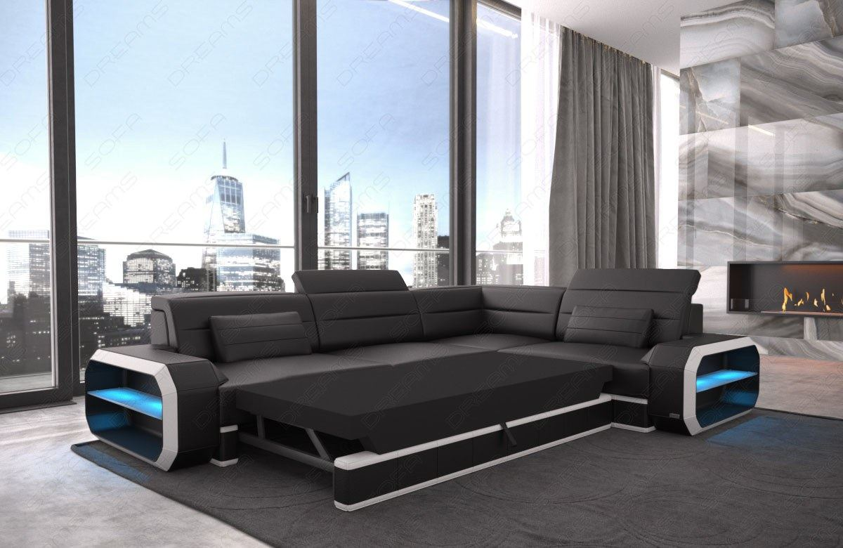 echt ledercouch designersofa verona l form eck couch mit. Black Bedroom Furniture Sets. Home Design Ideas