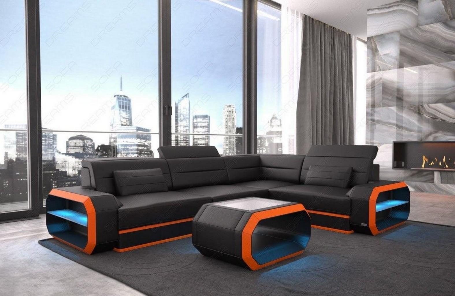 echt ledercouch designersofa verona l form eck couch mit. Black Bedroom Furniture Sets. Home Design Ideas