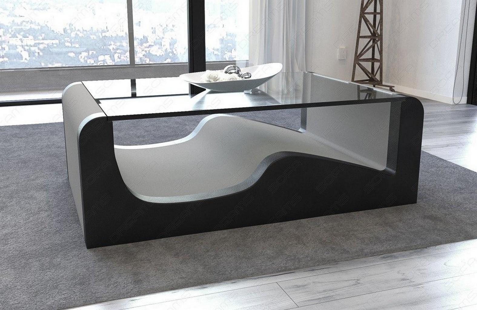 Couchtisch beistelltisch stoff wave mit glasplatte for Designer couchtisch glasplatte