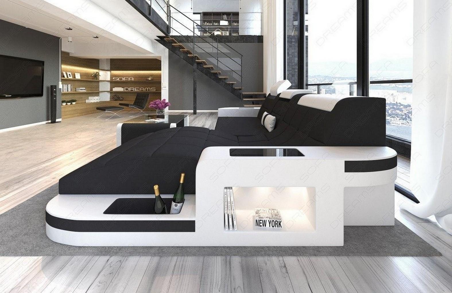 fabric sofa set wave l shaped led design leather mix. Black Bedroom Furniture Sets. Home Design Ideas