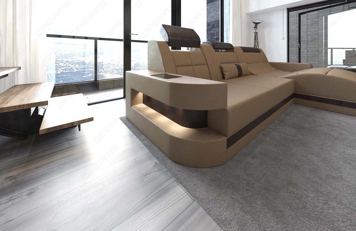 wohnlandschaft wave l form led relax design sofa eckcouch megasofa beige braun ebay. Black Bedroom Furniture Sets. Home Design Ideas