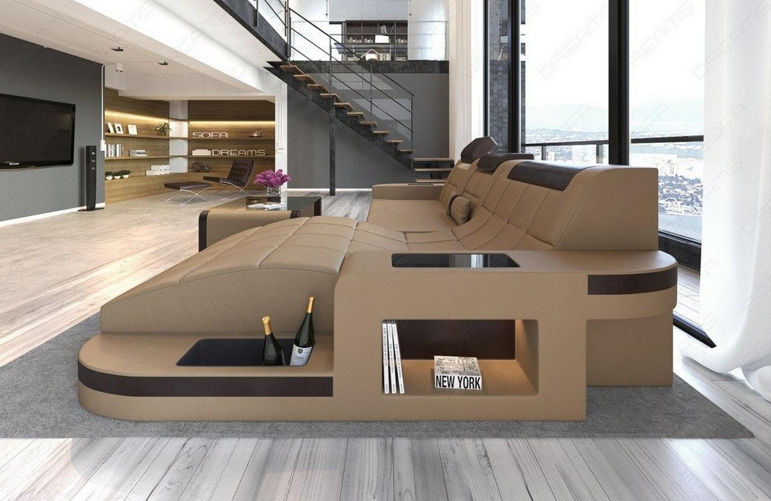 wohnlandschaft wave l form leds relax leder sofa eckcouch megasofa sandbeige ebay. Black Bedroom Furniture Sets. Home Design Ideas
