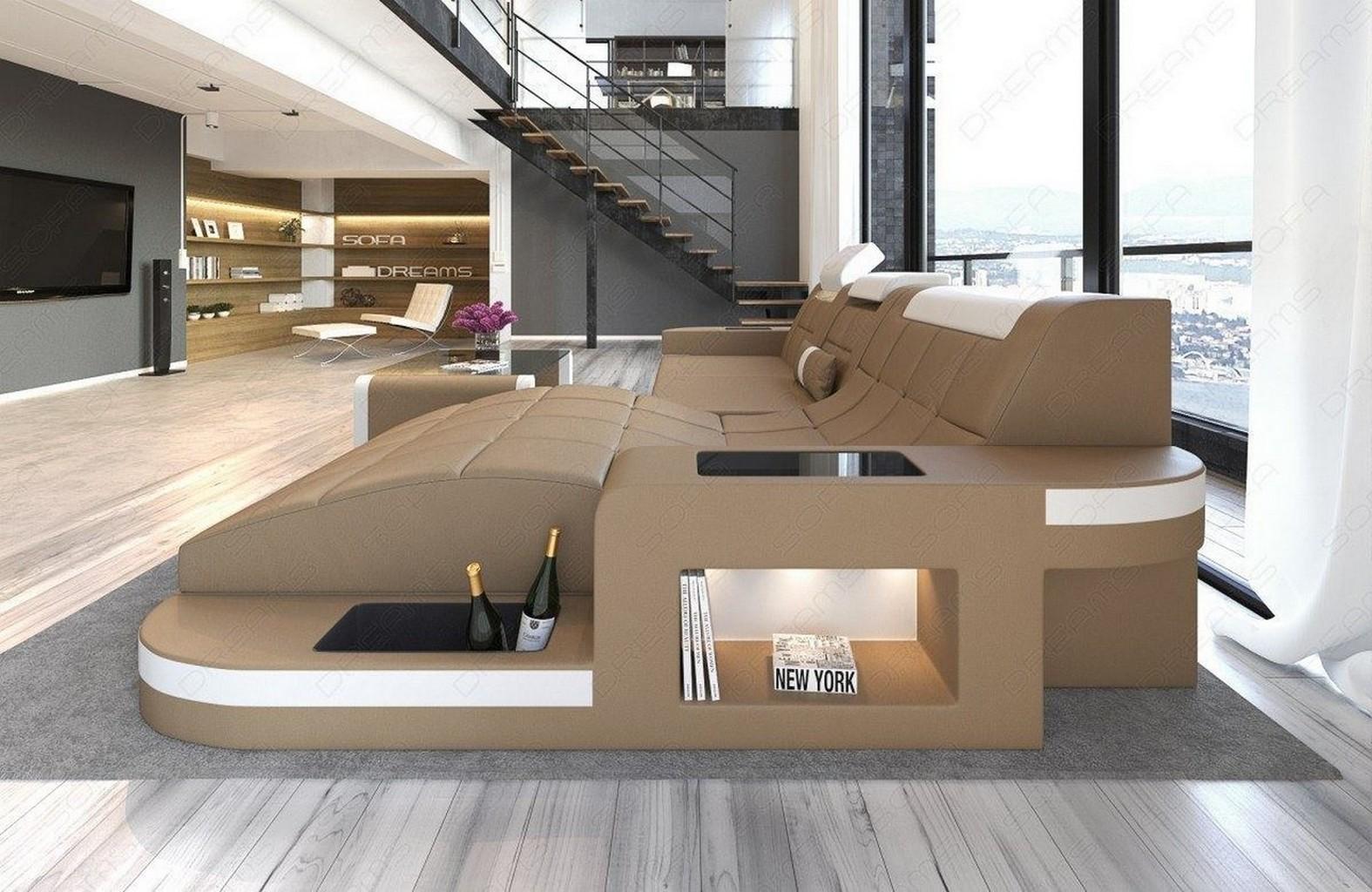 ledersofa wave l form eck luxus couch garnitur mit led rgb. Black Bedroom Furniture Sets. Home Design Ideas