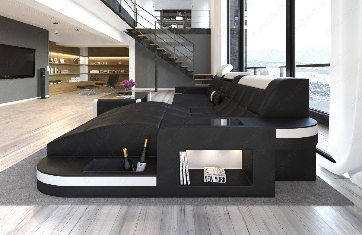 ledersofa wave l form led relax design sofa eckcouch megasofa schwarz weiss ebay. Black Bedroom Furniture Sets. Home Design Ideas