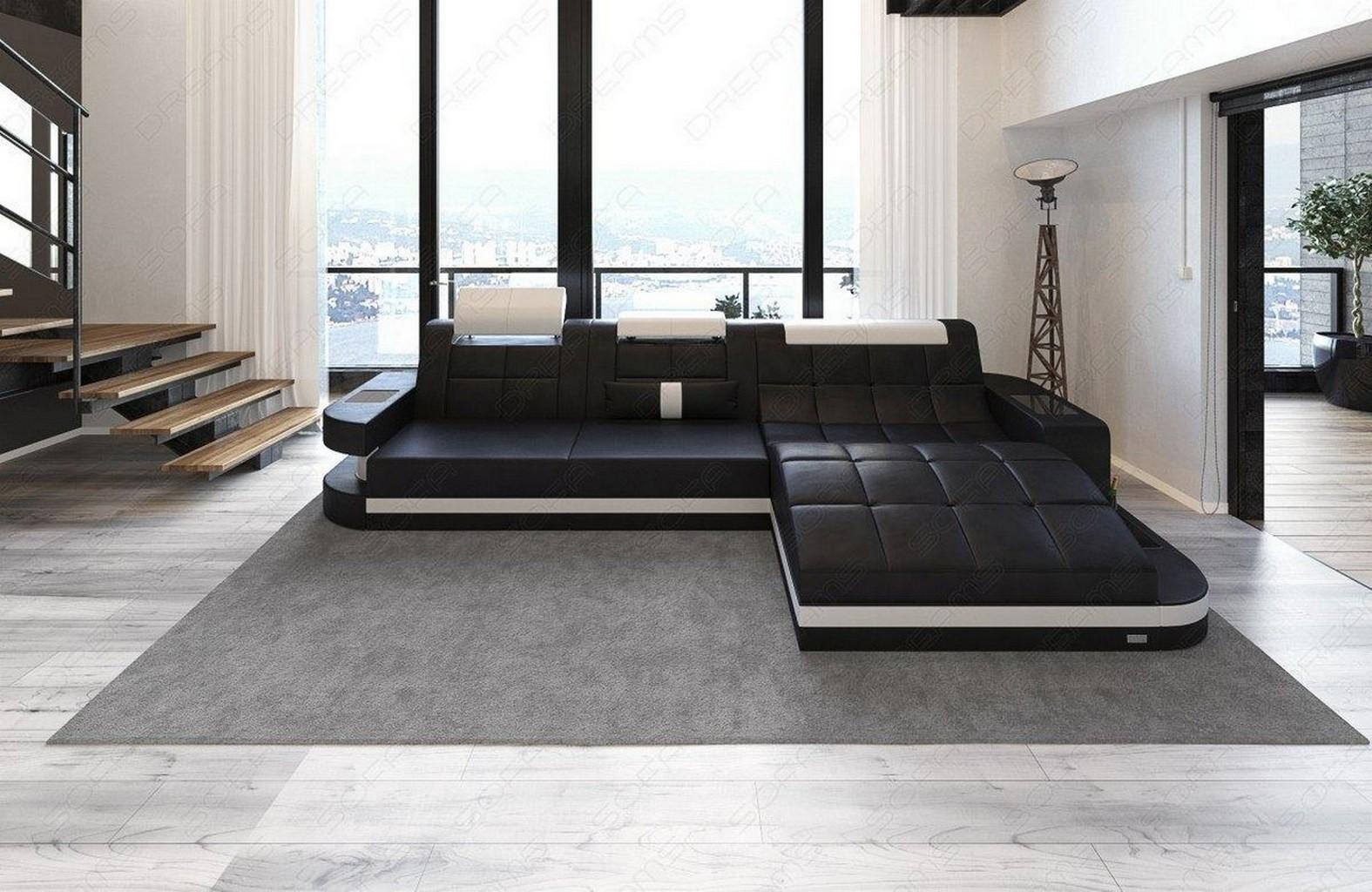 ledersofa couch wave l mit led beleuchtung ottomane schwarz weiss lagerware ebay. Black Bedroom Furniture Sets. Home Design Ideas