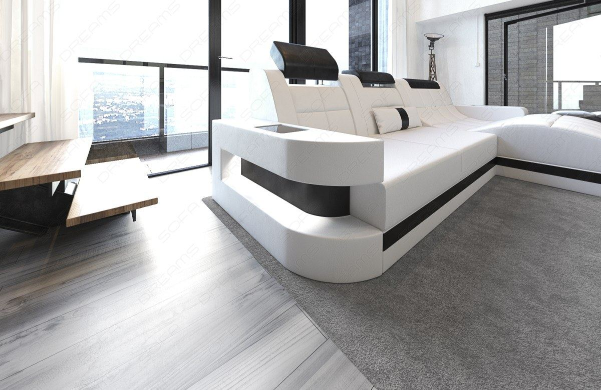 ledersofa wave l form led luxus design sofa eckcouch megasofa weiss schwarz ebay. Black Bedroom Furniture Sets. Home Design Ideas
