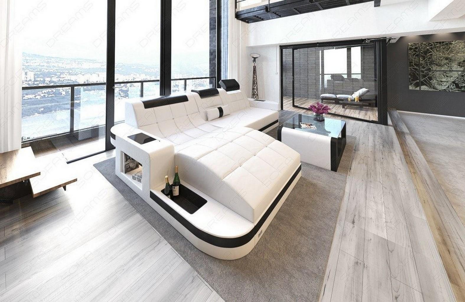 ledersofa wave l form eck luxus couch garnitur mit led rgb beleuchtung ecksofa ebay. Black Bedroom Furniture Sets. Home Design Ideas
