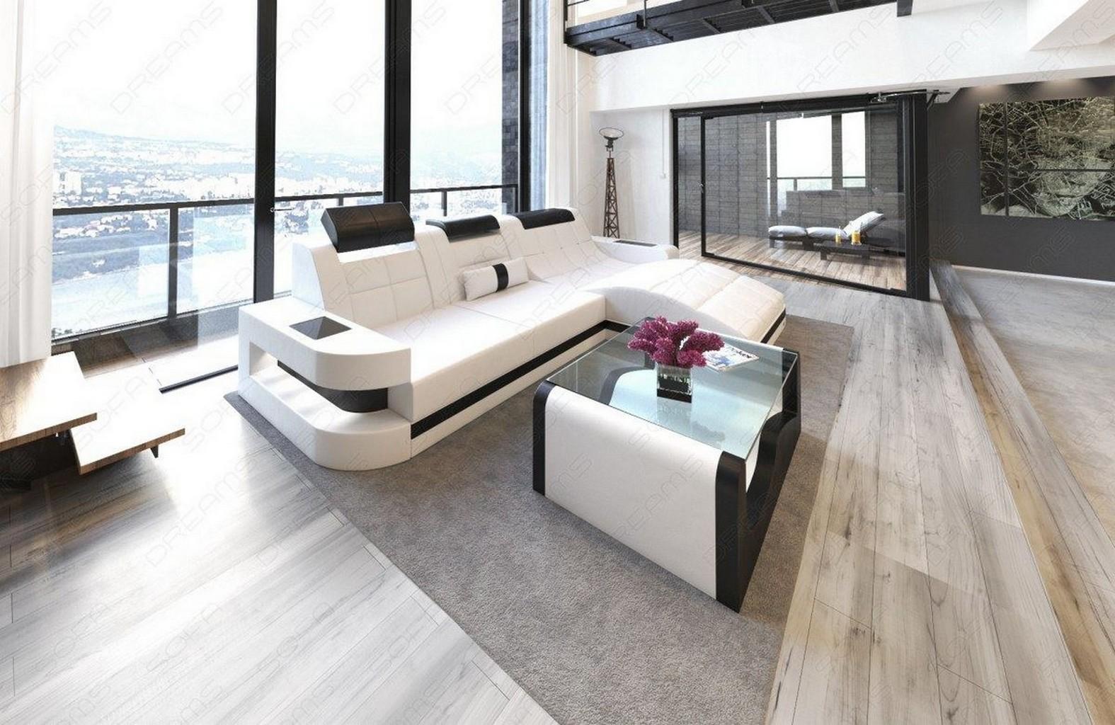 Ledersofa WAVE LForm LED Luxus Design Sofa Eckcouch