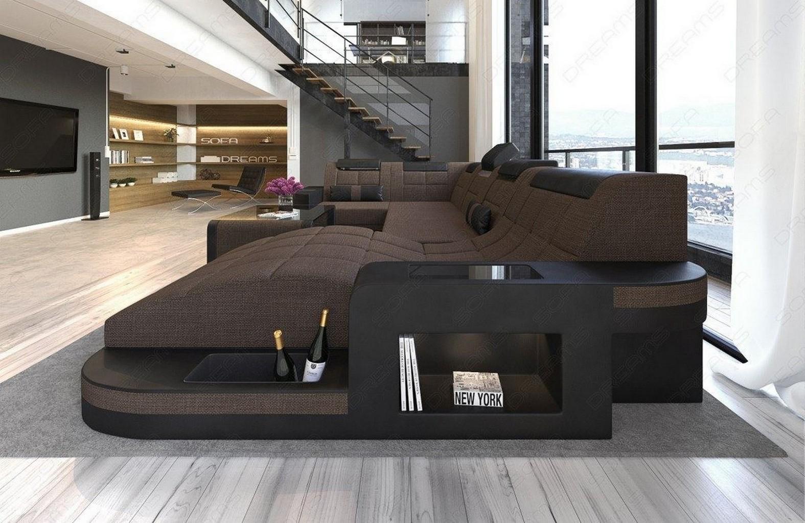 wohnlandschaft stoffsofa wave u form led beleuchtung polsterecke materialmix ebay. Black Bedroom Furniture Sets. Home Design Ideas