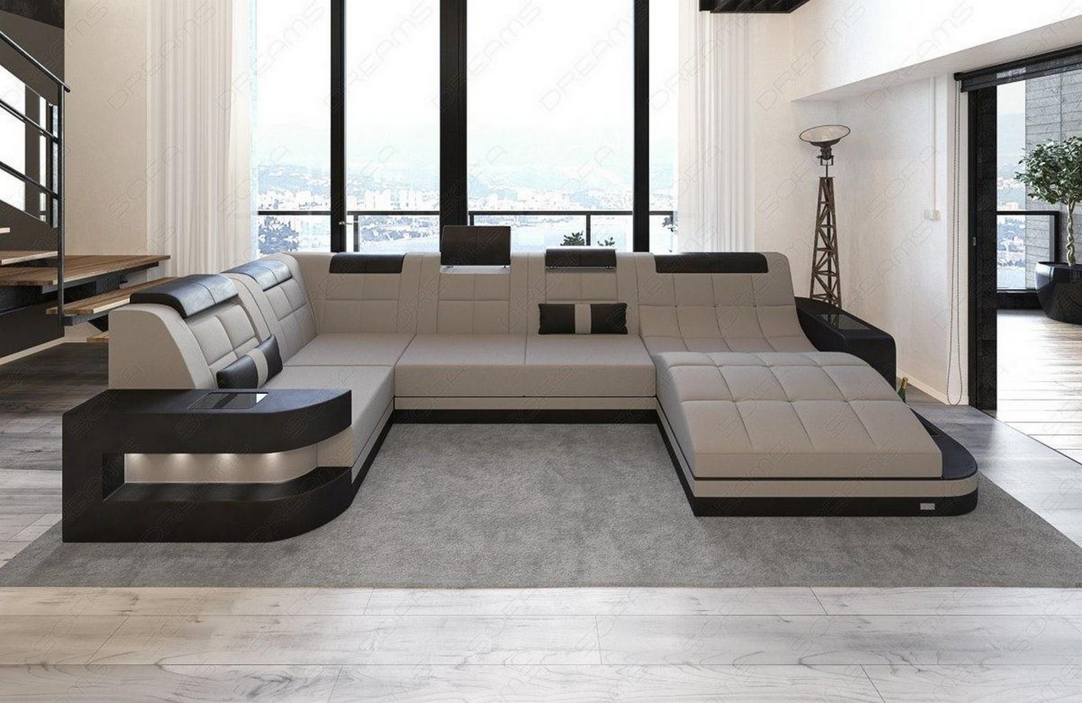 fabric sofa interior design wave u shape grey led lighting materialmix ebay. Black Bedroom Furniture Sets. Home Design Ideas