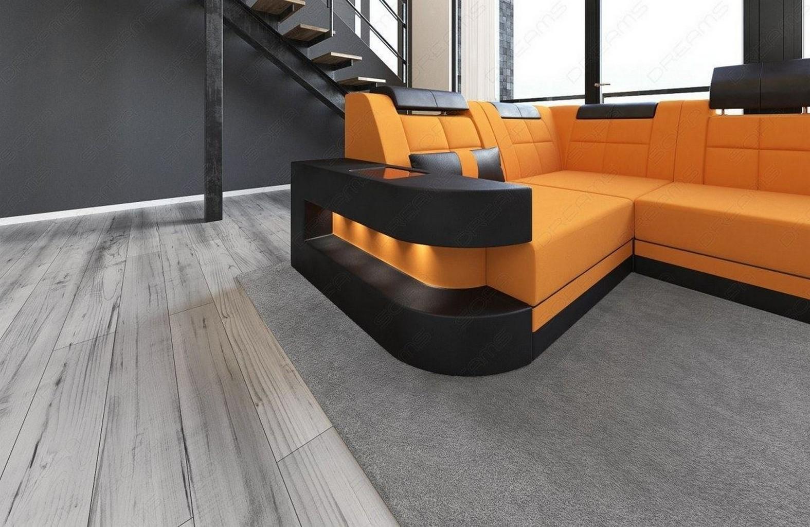 Stoffsofa Mikrofaser Wohnlandschaft Wave U Form Orange Led Beleuchtung Stoff Mix Ebay