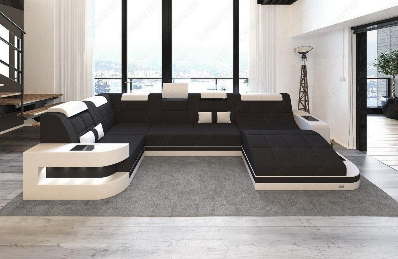 Stoffsofa Luxus Wohnlandschaft Wave U Form Led Beleuchtung Schwarze