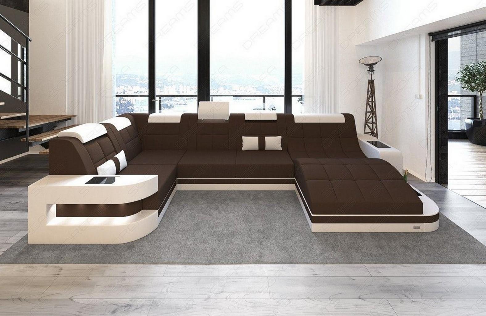 Luxus Couch Stoffsofa Wohnlandschaft Wave U Form Led Beleuchtung Materialmix Ebay