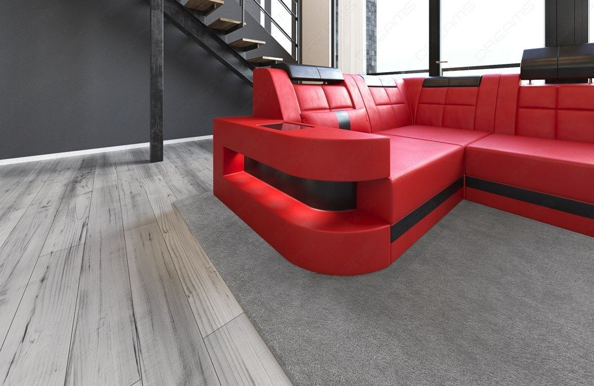 interior design wave u shaped led relax sofa corner couch megasofa red black ebay. Black Bedroom Furniture Sets. Home Design Ideas
