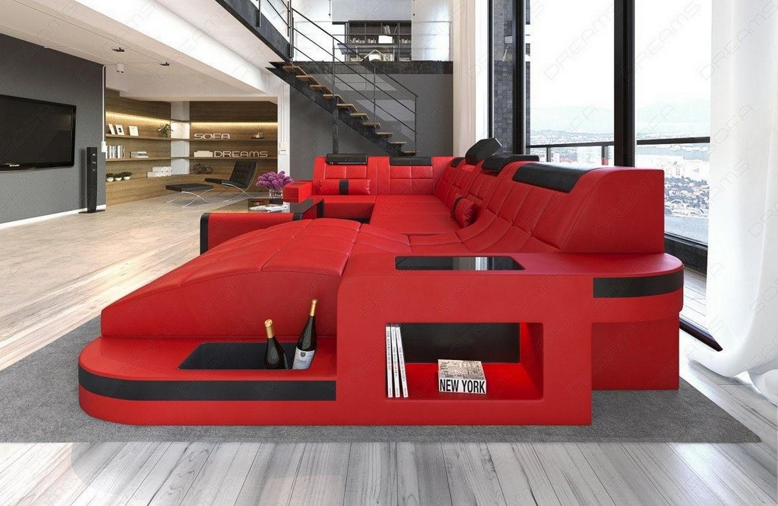 wohnlandschaft wave u form led grosses luxussofa ottomane megasofa rot schwarz ebay