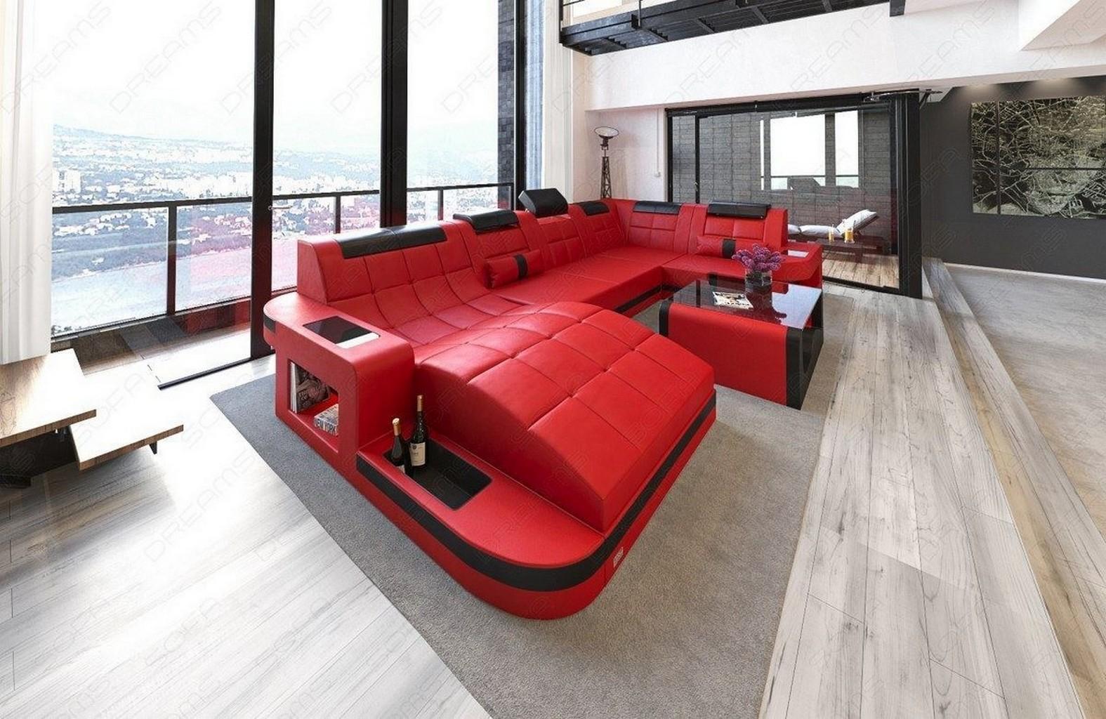 interior design wave u shaped led relax sofa corner couch megasofa red black ebay. Black Bedroom Furniture Sets. Home Design Ideas