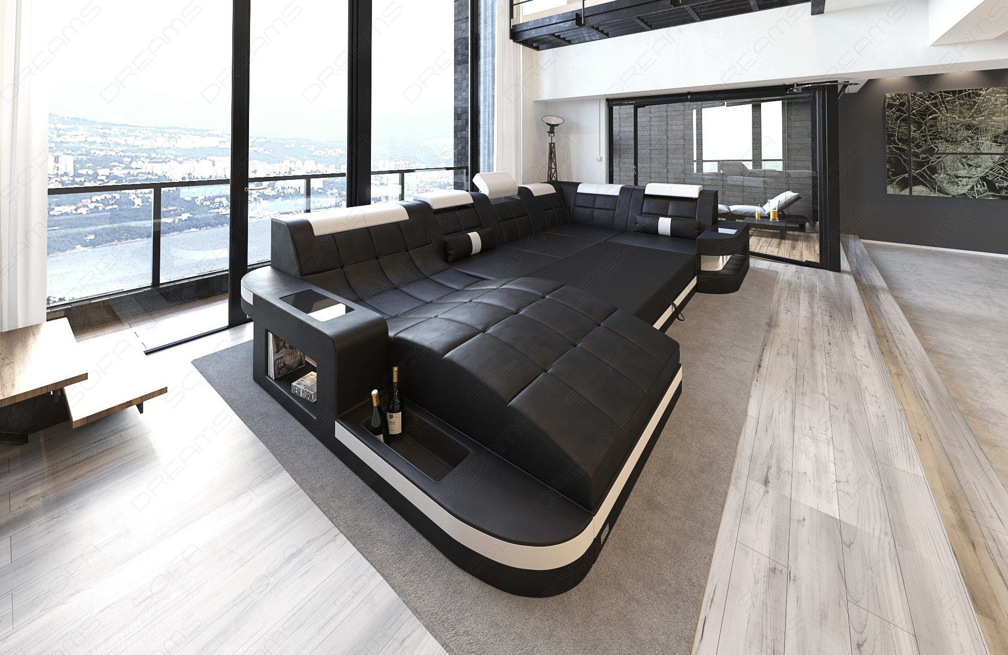 wohnlandschaft wave u form luxus couch garnitur mit led rgb beleuchtung ecksofa ebay. Black Bedroom Furniture Sets. Home Design Ideas