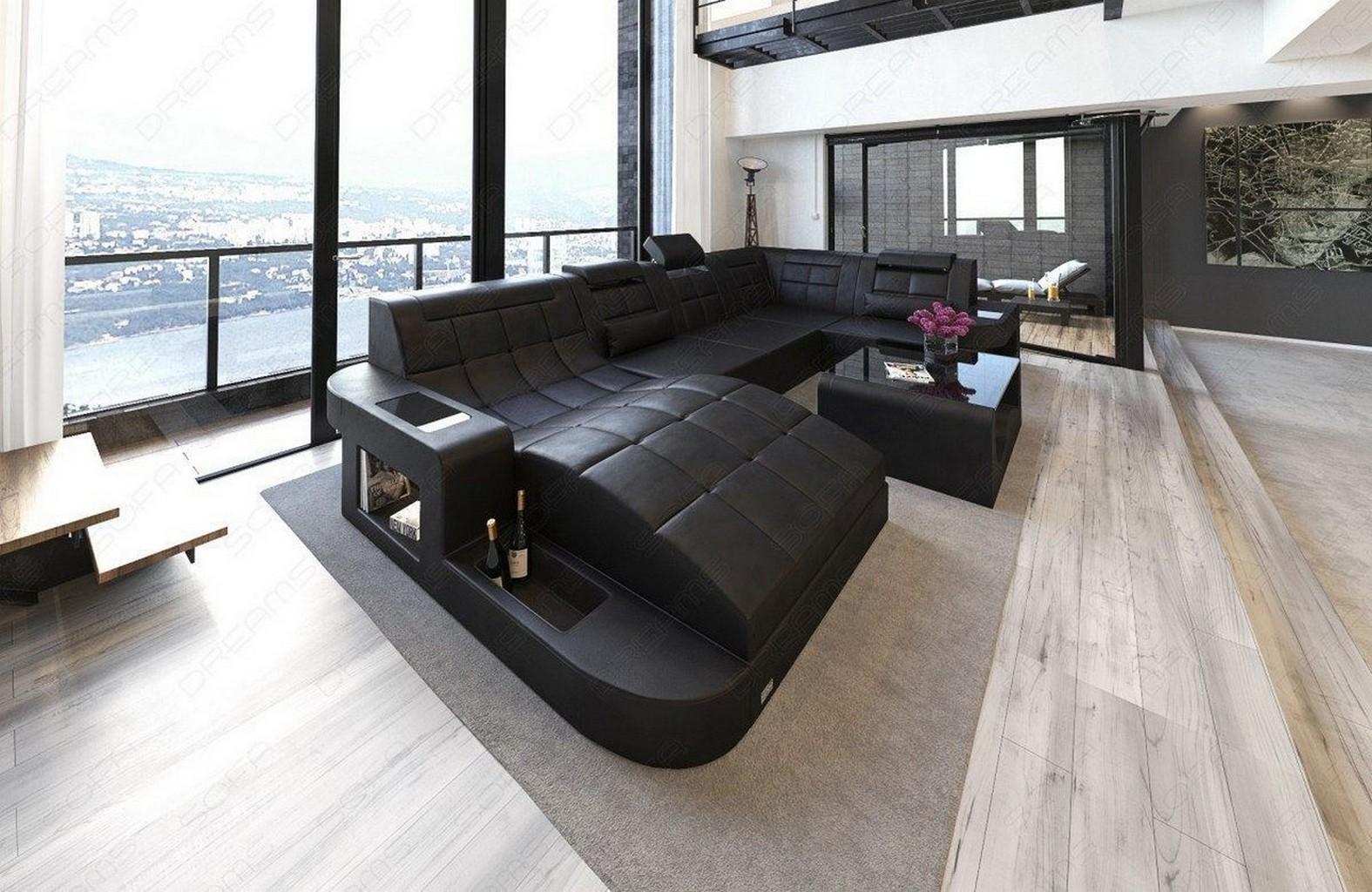 Wohnlandschaft geschwungen  Wohnlandschaft WAVE U-Form Luxus Couch Garnitur mit LED RGB ...