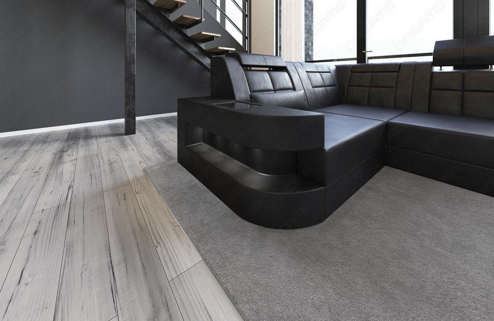 couch ledersofa wave u form led design sofa eckcouch megasofa schwarz schwarz ebay. Black Bedroom Furniture Sets. Home Design Ideas