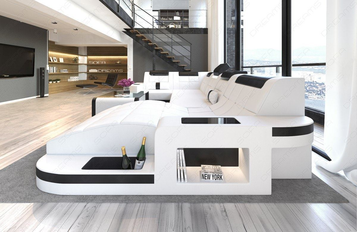 wohnlandschaft wave u form luxus couch garnitur mit led. Black Bedroom Furniture Sets. Home Design Ideas