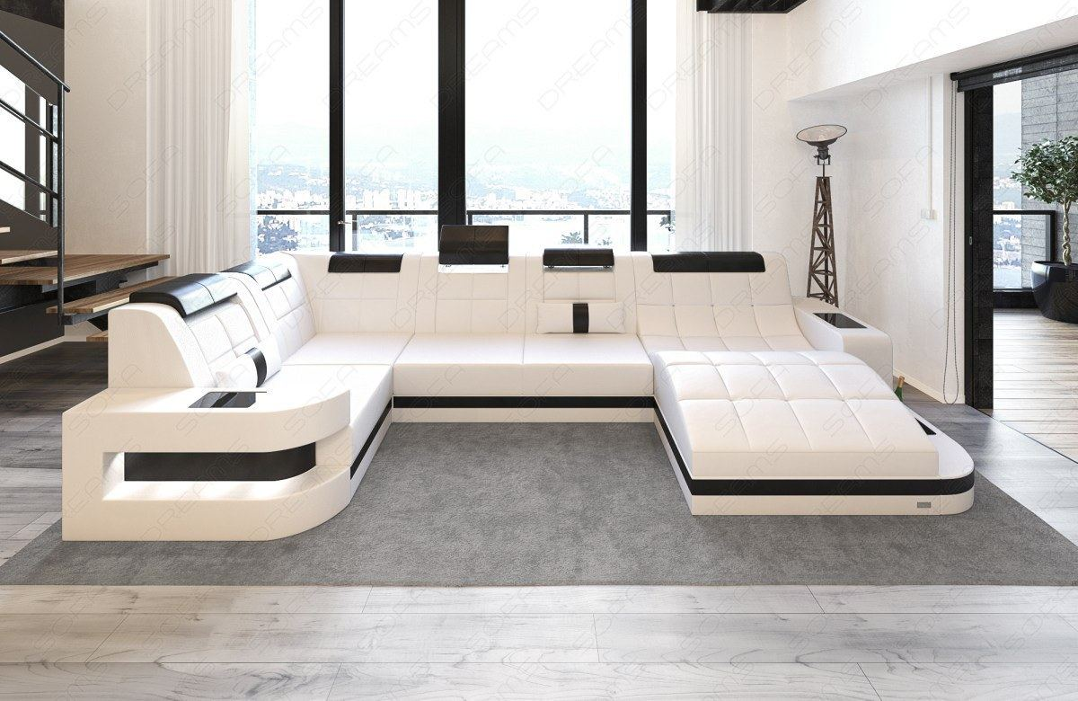 ledersofa wave u form led luxus design sofa eckcouch megasofa weiss schwarz ebay. Black Bedroom Furniture Sets. Home Design Ideas